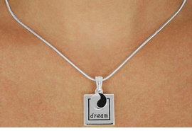 "<Br>              LEAD & NICKEL FREE!!<Br>  W17439N - SILVER TONE ""DREAM""<Br>FRAME & YIN YANG CHARM NECKLACE<Br>             FROM $5.06 TO $11.25"