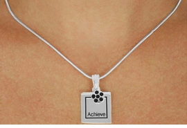 "<Br>              LEAD & NICKEL FREE!!<Br>     W17442N - SILVER-TONE ""ACHIEVE""<Br>FRAME & CIRCLE CHARM NECKLACE<Br>             FROM $5.06 TO $11.25"