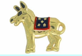 <Br>                  LEAD & NICKEL FREE!!<Br>        W17482P - SMALL GOLD TONE <BR>        DEMOCRATIC PARTY PATRIOTIC <BR>DONKEY TACK PIN FROM $3.35 TO $7.50