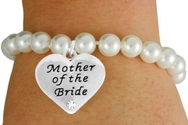 """<Br>               LEAD & NICKEL FREE!!<Br>    W17488B - CREAM COLOR FAUX<Br>PEARL & """"MOTHER OF THE BRIDE"""" CHARM<Br>     BRACELET FROM $6.13 TO $10.75"""
