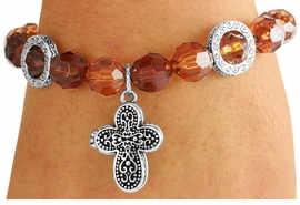 <Br>             LEAD & NICKEL FREE!!<Br>      W17530B - TOPAZ & AMBER<Br>   FACETED BEAD ANTIQUE CROSS<Br>LOCKET DROP STRETCH BRACELET<Br>              FROM $3.94 TO $8.75