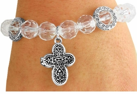 <Br>           LEAD & NICKEL FREE!!<Br>      W17531B - CLEAR FACETED<Br>  BEAD ANTIQUE CROSS LOCKET<Br>DROP STRETCH BRACELET FROM<Br>                   $3.94 TO $8.75