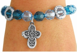 <Br>              LEAD & NICKEL FREE!!<Br>   W17532B - BLUE & TURQUOISE<Br>   FACETED BEAD ANTIQUE CROSS<Br>LOCKET DROP STRETCH BRACELET<Br>              FROM $3.94 TO $8.75