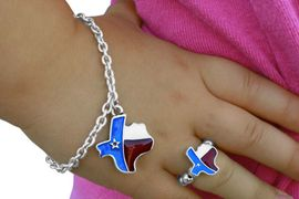 """<bR>                    LEAD & NICKEL FREE!!<Br>   W17552NBR - CHILDREN'S """"LONE STAR  <Br> STATE"""" TEXAS NECKLACE, BRACELET, & <bR>       RING SET FROM $3.94 TO $8.75"""