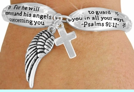 """<Br>                LEAD & NICKEL FREE!!<BR>W17619B - """"ANGELS"""" PSALMS 91:11<Br> DOUBLE CHARM TOGGLE BRACELET<br>               FROM $6.19 TO $13.75"""
