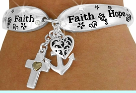 """<Br>            LEAD & NICKEL FREE!!<BR> W17620B - """"LOVE HOPE FAITH""""<Br>          TRIPLE CHARM TOGGLE<br>BRACELET FROM $6.19 TO $13.75"""