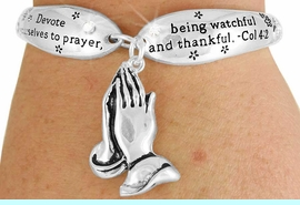 """<Br>                 LEAD & NICKEL FREE!!<BR>W17621B - """"PRAYING HANDS"""" COL 4:2<Br>     CHARM TOGGLE BRACELET FROM<br>                        $6.19 TO $13.75"""