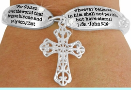 """<Br>              LEAD & NICKEL FREE!!<BR>W17623B - SCRIPTURE JOHN 3:16""""<Br>            CROSS CHARM TOGGLE<br>  BRACELET FROM $6.19 TO $13.75"""