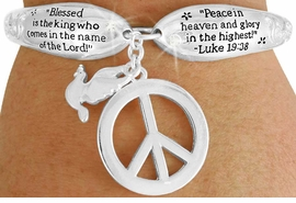 "<Br>              LEAD & NICKEL FREE!!<BR>  W17624B - ""PEACE"" LUKE 19:38<Br>DOUBLECHARM TOGGLE BRACELET<br>             FROM $6.19 TO $13.75"
