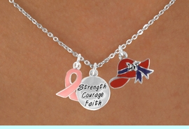 """<Br>               LEAD & NICKEL FREE!!<Br>W17664N - RED HAT """"STRENGTH, COURAGE,<Br>FAITH"""" & PINK AWARENESS CHARM<Br>   NECKLACE FROM $5.85 TO $13.00"""