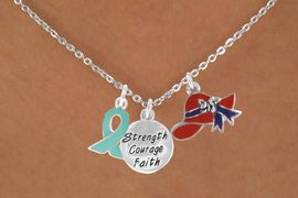 """<Br>               LEAD & NICKEL FREE!!<Br> W17667N - RED HAT """"STRENGTH, COURAGE,<Br>FAITH"""" & TEAL AWARENESS CHARM<Br>   NECKLACE FROM $5.85 TO $13.00"""