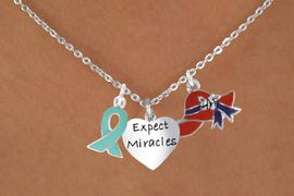 """<Br>               LEAD & NICKEL FREE!!<Br>   W17669N - RED HAT """"EXPECT MIRACLES""""<Br>HEART & TEAL AWARENESS CHARM<Br>   NECKLACE FROM $5.85 TO $13.00"""