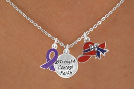 """<Br>                  LEAD & NICKEL FREE!!<Br>    W17670N - RED HAT """"STRENGTH, COURAGE,<Br>FAITH"""" & PURPLE AWARENESS CHARM<Br>      NECKLACE FROM $5.85 TO $13.00"""