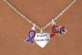 """<Br>                  LEAD & NICKEL FREE!!<Br>      W17672N - RED HAT """"EXPECT MIRACLES""""<Br>HEART & PURPLE AWARENESS CHARM<Br>      NECKLACE FROM $5.85 TO $13.00"""