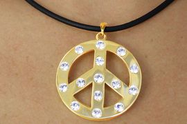 <Br>               LEAD & NICKEL FREE!!<Br>W17789NE - GOLD FINISH AUSTRIAN<br>    CRYSTAL ACCENTED PEACE SIGN<Br>    NECKLACE & EARRING SET FROM<br>                    $18.21 TO $38.75