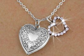 <Br>               LEAD & NICKEL FREE!!<Br>      W17862N - ANTIQUED SILVER<Br>        FINISH HEART LOCKET AND<br>AUSTRIAN CRYSTAL HEART CHARM<Br>   NECKLACE FROM $3.35 TO $7.50