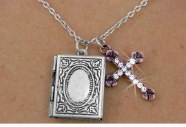 <Br>                       LEAD & NICKEL FREE!!<Br>      W17872N - RECTANGLE ANTIQUED <Br>         SILVER FINISH LOCKET WITH COPPER <BR>           TONE CRYSTAL ACCENTED CROSS <br>    CHARM NECKLACE FROM $3.35 TO $7.50