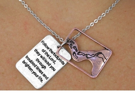 "<Br>                 LEAD & NICKEL FREE!!<Br>    W17890N - ANTIQUED TWO TONE <Br>  RECTANGLE ""FOLLOW THE FOOTPRINTS  <br>       OF THE LORD..."" LAYERED CHARM <BR>         NECKLACE FROM $3.35 TO $7.50"