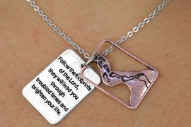 """<Br>                 LEAD & NICKEL FREE!!<Br>    W17890N - ANTIQUED TWO TONE <Br>  RECTANGLE """"FOLLOW THE FOOTPRINTS  <br>       OF THE LORD..."""" LAYERED CHARM <BR>         NECKLACE FROM $3.35 TO $7.50"""