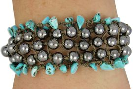 <Br>                     LEAD & NICKEL FREE!!<Br>             W17908B - TURQUOISE AND  <BR>               HEMATITE 5 ROW WOVEN <BR>          BRACELET FROM $3.94 TO $8.75