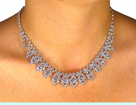"""<BR>                     LEAD & NICKEL FREE!!<bR>    W18115NE - POLISHED SILVER FINISH<br>   AUSTRIAN CRYSTAL """"CASCADING LEAF""""<Br>             NECKLACE & EARRINGS FROM<Br>                         $18.69 TO $34.50"""