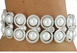 <Br>         LEAD & NICKEL FREE!!<Br>W18179B - SILVER TONE FAUX<Br> PEARL DOUBLE-ROW CIRCLE<Br>    STRETCH BRACELET FROM<bR>              $15.75 TO $35.00