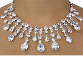 <Br>                 LEAD & NICKEL FREE!!<Br>W18193NE - RHINESTONE AND CRYSTAL<Br>      TEARDROP NECKLACE & EARRING<Br>           SET FROM $31.69 TO $58.50