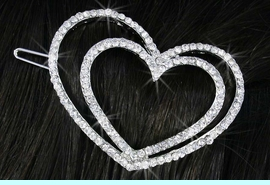 <Br>                LEAD & NICKEL FREE!!<Br>    W18260HJ -  BEAUTIFUL AUSTRIAN      <BR>              CRYSTAL DOUBLE HEART<BR>     BARRETTE FROM $5.06 TO $11.25