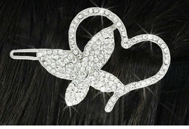 <Br>                LEAD & NICKEL FREE!!<Br>    W18262HJ -  BEAUTIFUL AUSTRIAN <BR>           CRYSTAL BUTTERFLY HEART<BR>       BARRETTE FROM $4.50 TO $10.00
