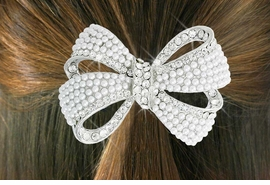 "<Br>                    LEAD & NICKEL FREE!!<br>           W18263HJ - GENUINE AUSTRIAN <Br>   CRYSTAL AND FAUX PEARL BEAD ""BOW""  <BR> PONYTAIL HOLDER FROM $5.63 TO $12.50"