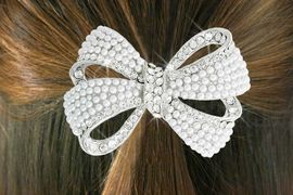"""<Br>                    LEAD & NICKEL FREE!!<br>           W18263HJ - GENUINE AUSTRIAN <Br>   CRYSTAL AND FAUX PEARL BEAD """"BOW""""  <BR> PONYTAIL HOLDER FROM $5.63 TO $12.50"""
