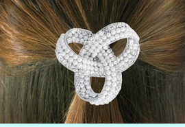 """<Br>                    LEAD & NICKEL FREE!!<br>  W18264HJ - GENUINE AUSTRIAN CRYSTAL<Br>     AND FAUX PEARL BEAD """"TRIPLE LOOP""""  <BR> PONYTAIL HOLDER FROM $5.63 TO $12.50"""