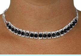 <Br>              LEAD & NICKEL FREE!!<Br>  W18440NE - GENUINE AUSTRIAN<br> CRYSTAL & JET BLACK FACETED FAUX <Br>  STONE NECKLACE & EARRINGS<Br>          FROM $12.19 TO $22.50