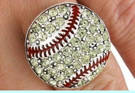 <Br>               LEAD & NICKEL FREE!!<Br>     W18460R - PAVE YELLOW FACETED  <BR> AUSTRIAN CRYSTAL SOFTBALL STRETCH  <Br>          RING FROM $5.63 TO $12.50