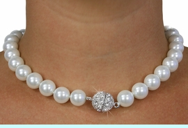<Br>              LEAD & NICKEL FREE!!<Br> W18489NE - WHITE FAUX PEARL AND <Br>    AUSTRIAN CRYSTAL NECKLACE <Br> & EARRING SET FROM $11.25 TO $25.00