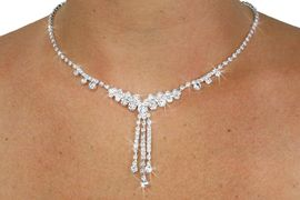 <Br>           LEAD & NICKEL FREE!!<BR>    W18719NE - FACETED CLEAR<Br>     GENUINE AUSTRIAN CRYSTAL<BR>        NECKLACE & EARRING SET<br>            FROM $9.75 TO $18.00