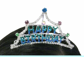 """<Br>                           LEAD & NICKEL FREE!!<Br>              W18729T - MINI BRIGHTLY COLORED<BR>                   GENUINE AUSTRIAN CRYSTAL<Br>                     """"HAPPY BIRTHDAY"""" TIARA<BR>              HAIR COMB FROM $7.31 TO $16.25"""