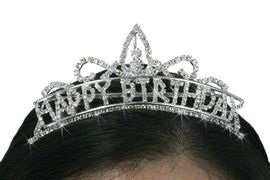 """<Br>                           LEAD & NICKEL FREE!!<Br>              W18739T - SMALL CLEAR CRYSTAL<BR>                   GENUINE AUSTRIAN CRYSTAL<Br>                     """"HAPPY BIRTHDAY"""" TIARA<BR>              HAIR COMB FROM $7.31 TO $16.25"""