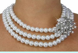 <Br>              LEAD & NICKEL FREE!!<Br>   W18742NE - WHITE FAUX PEARL BEAD<BR> AND FACETED CRYSTAL NECKLACE EARRING<Br>                        SET FROM $19.75