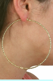 """<Br>           LEAD & NICKEL FREE!!<Br>W18744E - 3 1/2"""" GOLD FINISH<Br>     DIAMOND CUT HOLLOW <BR>BRIDGE-WIRE HOOP EARRINGS<Br>          FROM $5.63 TO $12.50"""