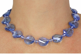 <Br>             LEAD & NICKEL FREE!!<Br>     W18810NE - BEAUTIFUL BLUE <BR>        HAND CUT CRYSTAL BEADED<bR>  NECKLACE FROM $14.63 TO $32.50
