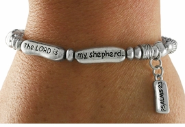 """<Br>            LEAD & NICKEL FREE!!<Br>     W18834B - """"THE LORD IS MY <br>SHEPHERD"""" PSALMS 23 STRETCH <br>   BRACELET FROM $5.06 TO $11.25"""