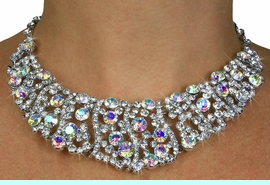 <BR>                     LEAD & NICKEL FREE!!<bR>    W18943NE - POLISHED SILVER FINISH<br>AURORA BOREALIS AUSTRIAN CRYSTAL LACE <Br>       COLLAR NECKLACE & EARRINGS FROM<Br>                         $26.00 TO $48.00