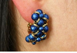 <Br>                  LEAD & NICKEL FREE!!<BR>      W19055E - GOLD TONE WITH BLUE<Br>BEADS HOOP CLIP-ON EARRINGS FROM<Br>                        $3.94 TO $8.75