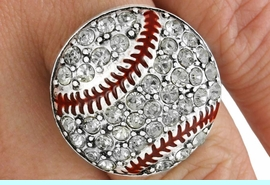 <Br>               LEAD & NICKEL FREE!!<Br>     W19221R - PAVE CLEAR FACETED  <BR> AUSTRIAN CRYSTAL BASEBALL STRETCH  <Br>          RING FROM $5.63 TO $12.50
