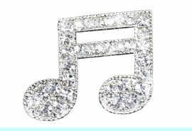 <Br>             LEAD & NICKEL FREE!!<BR>  W19250P - GENUINE AUSTRIAN<br> CRYSTAL ACCENTED MUSIC EIGHTH NOTE<Br>        PIN FROM $6.75 TO $15.00