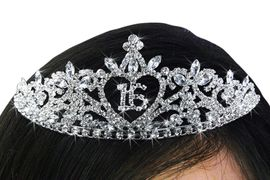 """<Br>          LEAD & NICKEL FREE!!<Br>  W19269T - """"16"""" HEART PRINCESS<Br> SWEET SIXTEEN / 16TH BIRTHDAY<Br>AUSTRIAN CRYSTAL SET TIARA<Br>       FROM $10.13 TO $22.50"""