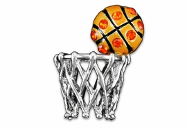 <br>              LEAD & NICKEL FREE!!<Br>W19331P - MEDIUM ORANGE CRYSTAL <Br> ACCENTED BASKETBALL AND HOOP <br>      LAPEL PIN FROM $4.50 TO $10.00