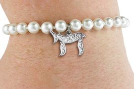 """<Br>                     LEAD & NICKEL FREE!! <Br>       W19426B -  JEWISH  """"CHAI""""  (LIFE) <BR> CHARM ON 6MM PEARL BEAD BRACELET <BR>            FROM $2.81 TO $6.25 �2012"""