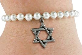 <Br>                     LEAD & NICKEL FREE!! <Br> W19430B - JEWISH STAR OF DAVID <BR> CHARM ON 6MM PEARL BEAD BRACELET <BR>            FROM $2.81 TO $6.25 �2012